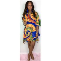 Plus Size 4XL Fahion Sexy Elegant Print Dress SHE-7213