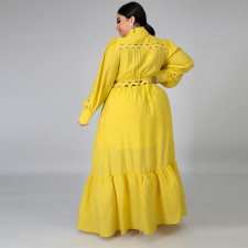 Plus Size 5XL Yellow Long Sleeve Hollow Maxi Dress CYA-1260