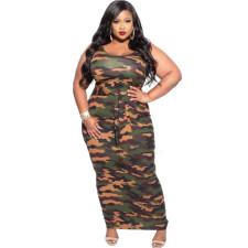 Plus Size 5XL Printed Sleeveless Maxi Dress CYA-1211