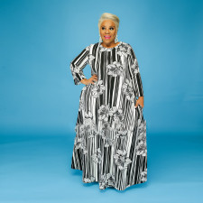 Plus Size 5XL Floral Striped Long Sleeve Maxi Dress CYA-1268