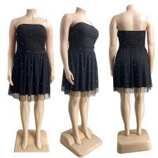 Plus Size 4XL Sexy Mesh Off Shoulder Beading Party Dress CYA-1225