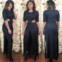 Solid Half Sleeve Hollow Two Piece Pants Set ZKF-1033