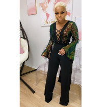 Fashion Casual Long Sleeve Sequin Sexy Party Jumpsuit CYA-8674