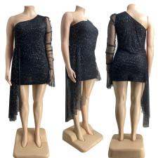 Plus Size Sexy One Shoulder Mesh Irregular Club Dress CYA-1227