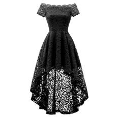 Plus Size 4XL Sexy Slash Neck Irregular Lace Dress CYA-1224