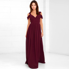 Plus Size Elegant V Neck High Waist Maxi Evening Dress CYA-1223