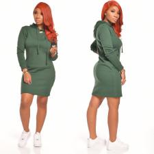 Casual Solid Pocket Pullover Hoodies Dress CYA-8651