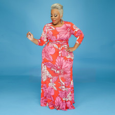 Plus Size 5XL Floral Print Long Sleeve Sashes Maxi Dress CYA-1255