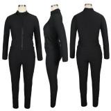 Solid Long Sleeve Zipper Two Piece Pants Set TE-4114