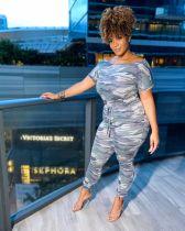 Camo Print High Waist Short Sleeve Jumpsuit YIM-143