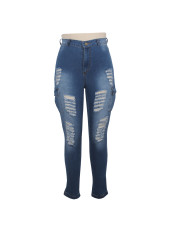 Denim Ripped Hole Skinny Jeans Pencil Pants HSF-2018
