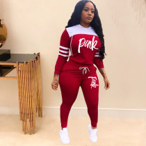 Pink Letter Print Hooded Two Piece Pants Set TK-6059