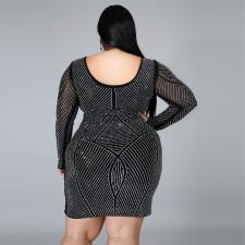 Plus Size 5XL Fat MM Fashion Hot Drilling Party Sexy Dress CYA-1288