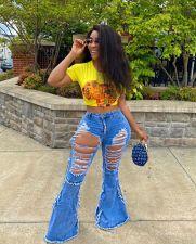 Plus Size 4XL Denim Ripped Hole Flared Jeans LSL-6376