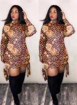 Leopard Print Long Sleeves Mini Dress LM-8193