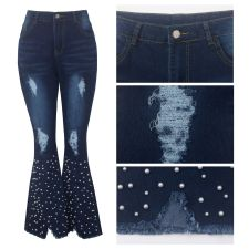 Denim Pearls Beading Ripped Hole Flared Jeans HSF-2228