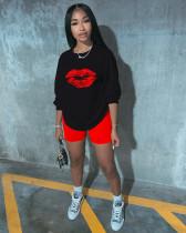 Lips Print Long Sleeve Two Piece Shorts Set ZKF-1005