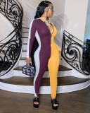 Contrast Color Rib Long Sleeve Zipper Skinny Jumpsuit OSM-4314