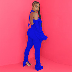 Solid Halter Backless Ruched Long Sleeve Jumpsuit TE-4120