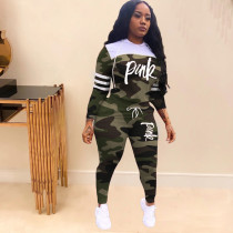 Pink Letter Print Camo Hooded Two Piece Sets TK-6062