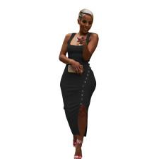 Sexy Rib Sleeveless Split Slim Long Dress ZKF-1002