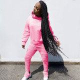 Solid Hoodies Stacked Pants Casual 2 Piece Sets TE-4113