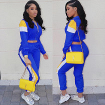 Casual Patchwork Tracksuit Two Piece Sets LM-8127