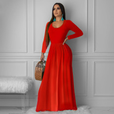 Solid Long Sleeve O Neck Maxi Dress PN-6234