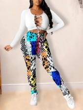 Plus Size 4XL Colorful Snake Skin Print Long Pants YIY-5219