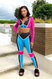 Contrast Color Hooded Sporty Two Piece Sets NIK-179