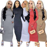Letter Embroidered Solid Color Sexy Bodycon Backless Club Party Night Long Dress MIL-173