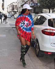 Fashion Casual Tie dye Print Long Sleeve Sweatshirt Dress MYP-8939
