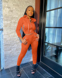 Solid Color Hooded Sports Casual Two Piece Set MIL-174