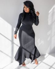 Solid Color Rib Sexy Long Sleeve Maxi Dress MIL-067-1