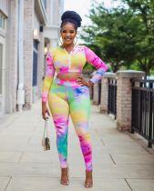 Tie Dye Print Long Sleeve Two Piece Pants Set BGN-110
