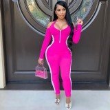 Sexy Halter Backless Long Sleeve Jumpsuits TK-6120