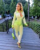 Fashion Sexy Long Sleeve Blouse And Pants Two Piece Set YIM-144