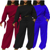Solid Long Sleeve Wide Leg Pants Two Piece Sets GS-1872