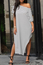 Plus Size 4XL Fashion Black And White Stripes Loose Dress MYF-891