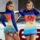 Sexy Printed Long Sleeve Bodycon Mini Dress LLF-8822