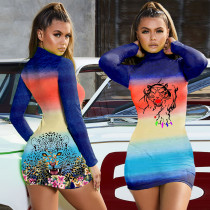 Sexy Printed Long Sleeve Bodycon Mini Dress LLF-8822
