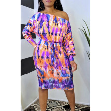 Sexy Long Sleeve Sashes Printed Dress AWF-5801