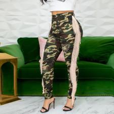 Plus Size Camo Denim Tassel Ripped Hole Jeans SH-3680