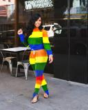 Plus Size Colodful Stripe Long Sleeve Two Piece Pants Set LLF-8818