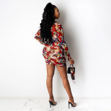 Sexy Printed Long Sleeve Mini Dress With Mask AWF-5802