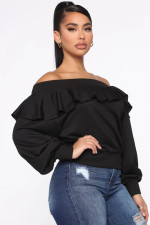 Casual Ruffled Slash Neck Sweatshirt Tops LLF-8819