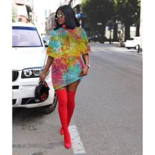 Tie Dye Print Short Sleeve O Neck T Shirt Dress LLF-8812