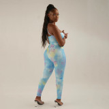 Sexy Printed Backless Cross Strap Tight Jumpsuits SXE-1738480