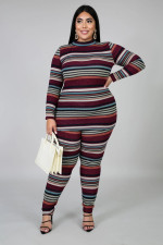 Plus Size 5XL Striped Print Long Sleeve Top And Pants Home Sports Casual Set BMF-028