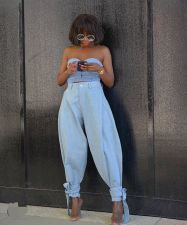 Denim Wide Leg Casual Loose Jeans Pants OD-8384